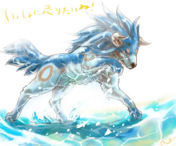水浴びライガー